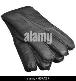 Black Men Deerskin Gloves, Large Detailed Isolated Men's Fine Grain Deer Leather Glove Pair Macro Closeup Studio - Stock Photo