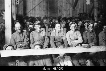 German soldiers in a cinema for soldiers during the First World War, 1916 - Stock Photo