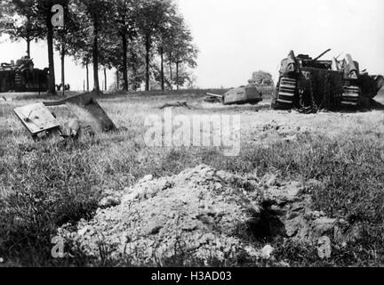 Destroyed French tanks during the Western campaign, 1940 - Stock Photo