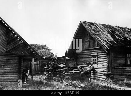 German tank in a village on the Eastern Front, 1941 - Stock Photo