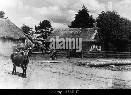 Zugkraftwagen of the Wehrmacht in a village on the Eastern Front, 1941 - Stock Photo