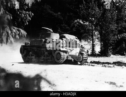 German tank goes through the woods on the Eastern Front, 1941 - Stock Photo