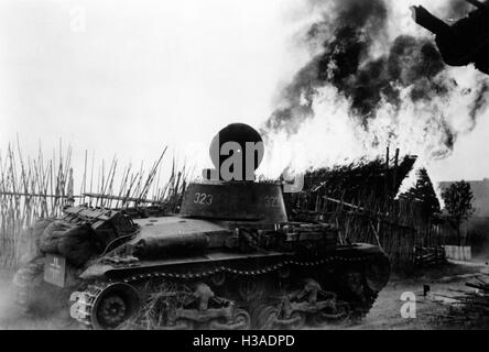 German battle tank on the Eastern Front, 1941 - Stock Photo