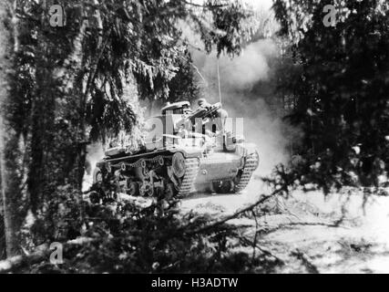 German tank crosses a forest on the Eastern Front, 1941 - Stock Photo