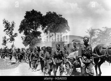 German marching column on the Eastern Front, 1941 - Stock Photo