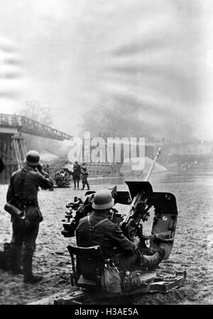 German anti-aircraft position at the Bug, 1941 - Stock Photo