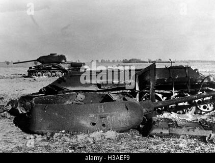 Downed Soviet T-34 in East Prussia, 1944 - Stock Photo