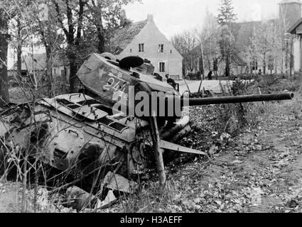 Downed Russian T-34 in East Prussia, 1944 - Stock Photo