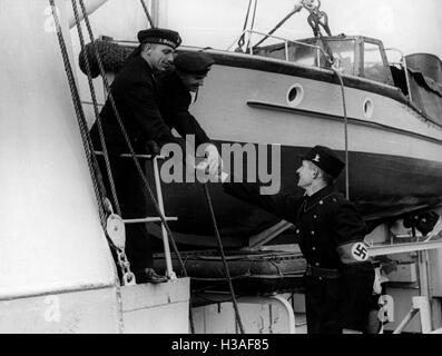 German Navy in the port of Memel, 1939 - Stock Photo