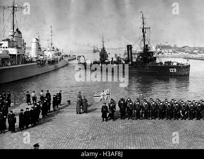 German naval landing party in the port of Memel, 1939 - Stock Photo