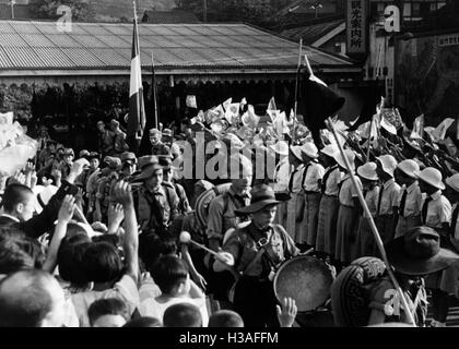 HJ group at the station in Otsu, 1939 - Stock Photo