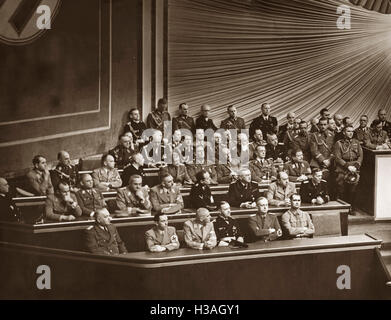 Government bench during a Reichstag session in the Kroll Opera House in Berlin, 1939 - Stock Photo