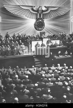 Speech of Hitler before the Reichstag in the Kroll Opera House in Berlin, 1941 - Stock Photo