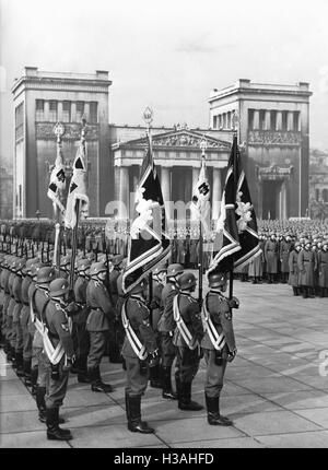 Handing over new flags to the Munich military units,1936 - Stock Photo
