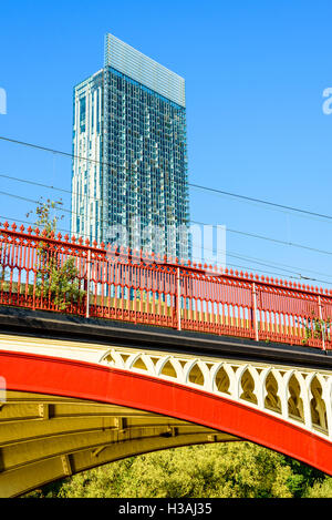Victorian railway bridge and the Beetham Tower Castlefield Manchester - Stock Photo