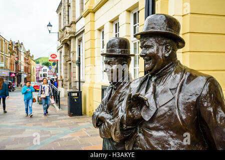 Statue of Laurel and Hardy in Ulverston Cumbria England, where Stan Laurel was born - Stock Photo