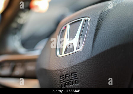 Honda steering wheel in the inside of the car from 2007 - Stock Photo