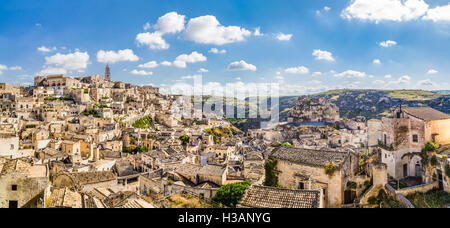 Ancient town of Matera (Sassi di Matera), European Capital of Culture 2019, in beautiful golden morning light, Basilicata, - Stock Photo