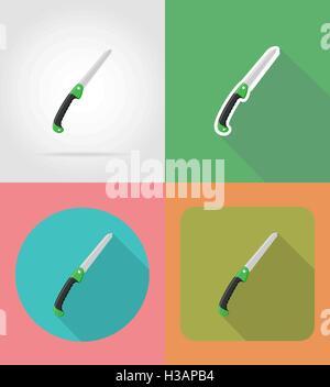gardening tool saw flat icons vector illustration isolated on background - Stock Photo