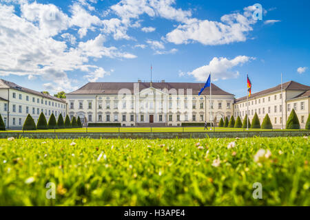 Classic view of famous Schloss Bellevue, the official residence of the President of the Republic of Germany, in - Stock Photo