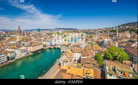 Aerial view of Zurich city center with famous St. Peter Church and river Limmat at Lake Zurich from Grossmunster, - Stock Photo