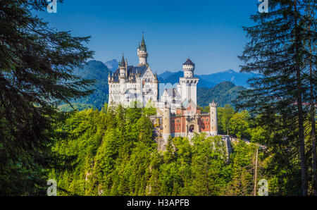 Unique frontal view of famous Neuschwanstein Castle near the town of Fussen on a sunny day in summer, Bavaria, Germany - Stock Photo