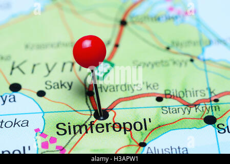 Simferopol pinned on a map of europe Stock Photo 85124505 Alamy