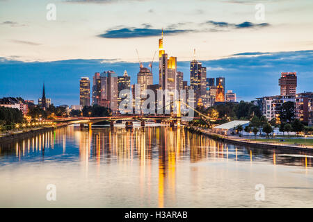 Classic view of Frankfurt am Main skyline in beautiful post sunset twilight at dusk, Hessen, Germany - Stock Photo
