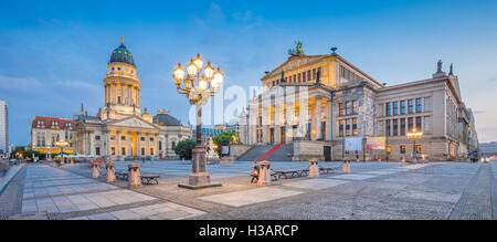Panoramic view of famous Gendarmenmarkt square with Berlin Concert Hall and German Cathedral in twilight, Berlin, - Stock Photo