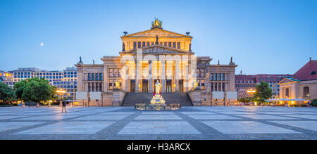 Classic view of historic Berlin Concert Hall at famous Gendarmenmarkt square in beautiful twilight at dusk, Berlin, - Stock Photo
