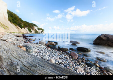 Long exposure daytime shot of chalk coast at Ruegen, Baltic Sea - Stock Photo