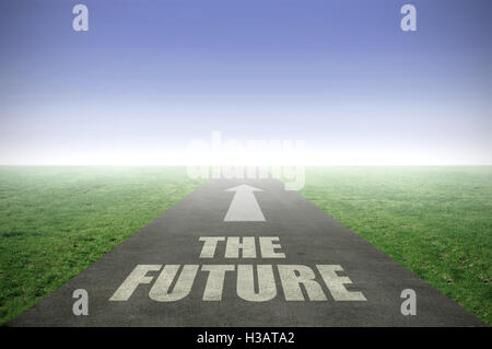 The future painted on an open road leading out to the horizon - Stock Photo