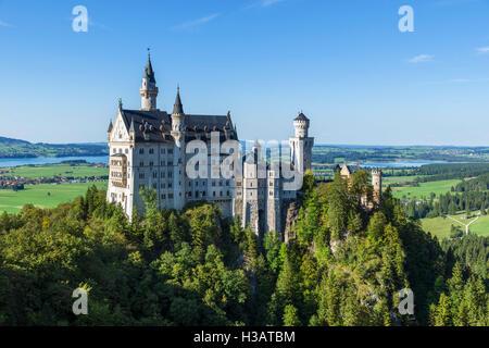Neuschwanstein Castle (Schloss Neuschwanstein), the fairytale palace built by King Ludwig II of Bavaria, Hohenschwangau, - Stock Photo