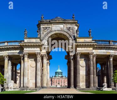 The Neues Palais (New Palace) viewed through the Colonnade, Park Sanssouci, Potsdam, Brandenburg, Germany - Stock Photo