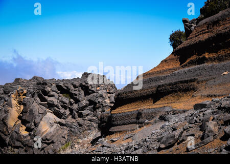 Geological colours of rock formations at Pico de Arieiro, Madeira - Stock Photo