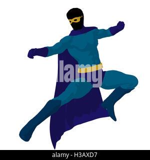 Super Hero Illustration Silhouette - Stock Photo