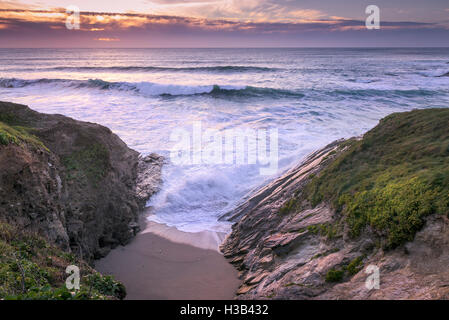 Evening light over Little Fistral in Newquay, Cornwall. - Stock Photo