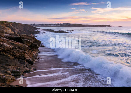 Evening light at Little Fistral in Newquay; Cornwall. - Stock Photo