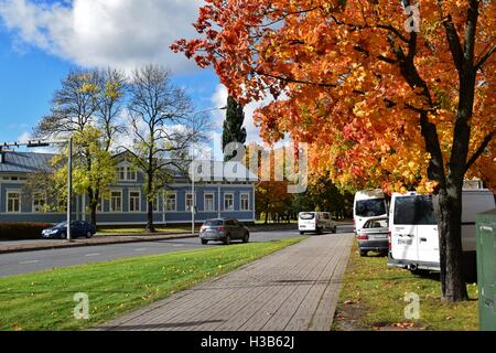 Sunny autumn day in the center of city Salo in Finland - Stock Photo
