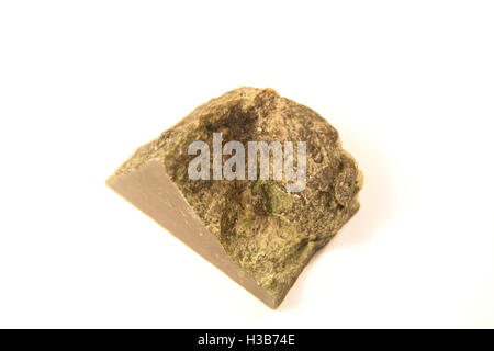 macro shot of nephrite stone isolated over white background - Stock Photo