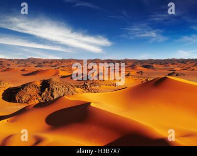 Sand dunes of Sahara Desert, Tadrart, Algeria - Stock Photo