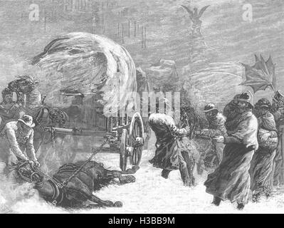 LONDON Fleet-Street During the Snowstorm on Tuesday Night, January 18 1881. The Illustrated London News - Stock Photo
