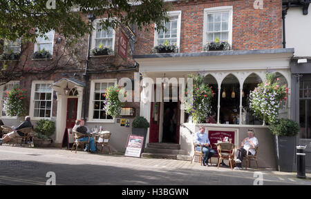 Morning coffee in The Square, Winchester City, Hampshire, England, UK. - Stock Photo