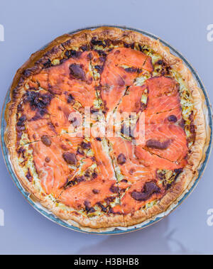seafood pizza with salmon fish - Stock Photo