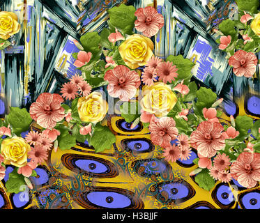 Latest Colorful Background Print Design with Flower - Stock Photo