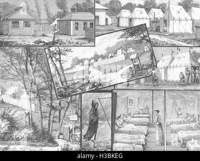 LONDON Smallpox Epidemic St Pancras hospital Camp Finchley; Tatterdown Ln 1881. The Illustrated London News - Stock Photo