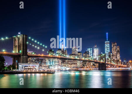 This classical view is made even more special by the Tribute in Light turned on after dusk.   The Tribute in Light - Stock Photo