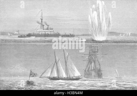 COWES HMS Thunderer Torpedo;Royal Yacht fleet Regatta Hildegarde Queen cup 1877. The Illustrated London News - Stock Photo