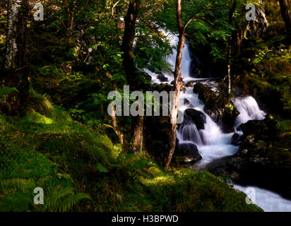 Long exposure photograph of a waterfall on Cadair Idris mountain range in the Snowdonia National park in Wales, - Stock Photo