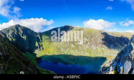 View of Llyn Cau on Cadair Idris mountain range in the Snowdonia National park in Wales, UK - Stock Photo